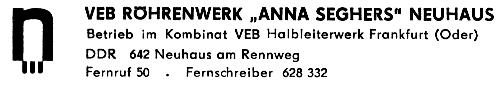 VEB Röhrenwerk Anna Seghers Neuhaus am Rennweg