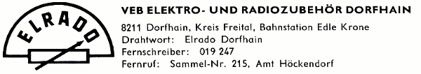 VEB ELektro- und Radiozubehör Dorfhain