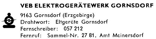 VEB Elektrogerätewerk Gornsdorf